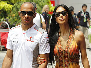 McLaren's British driver Lewis Hamilton with girlfriend Nicole Scherzinger