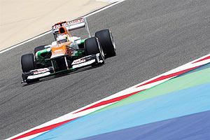 Force India car in action during qualifying on Saturday