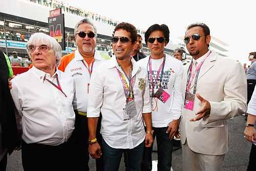 Bernie Ecclestone, Sachin Tendulkar, Vijay Mallya, Shah Rukh Khan and Gulshan Grover