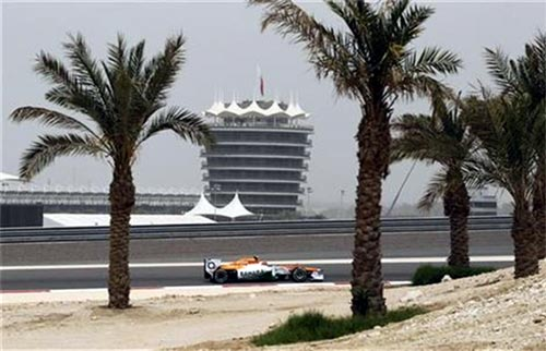 Force India driver Nico Hulkenberg of Germany drives during the first practice session of the Bahrain F1 Grand Prix at the Sakhir circuit in Manama