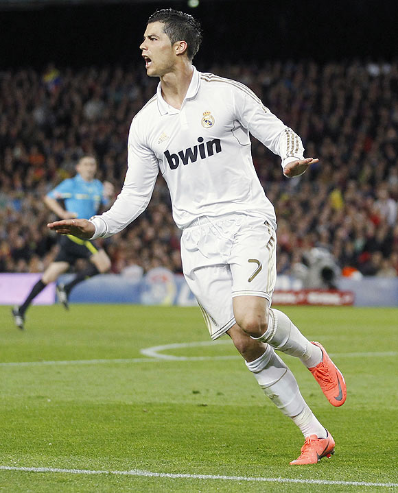 Real Madrid's Cristiano Ronaldo celebrates after scoring against Barcelona on Saturday
