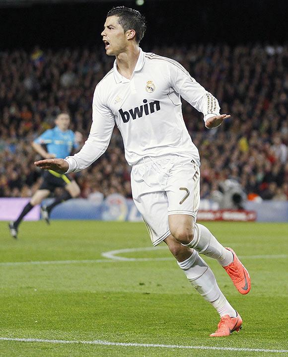 Real Madrid's Cristiano Ronaldo celebrates after scoring against Barcelona on Saturday