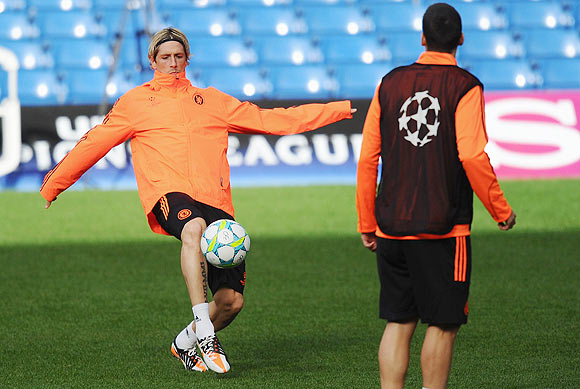 Fernando Torres of Chelsea in action during a training session