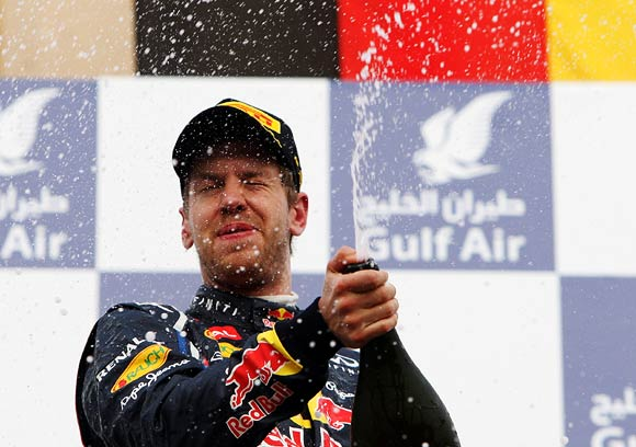 Sebastian Vettel celebrates after winning the Bahrain Grand Prix