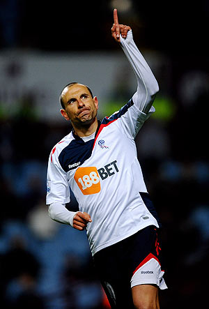 Martin Petrov of Bolton Wanderers celebrates after scoring from a penalty against Aston Villa on Tuesday