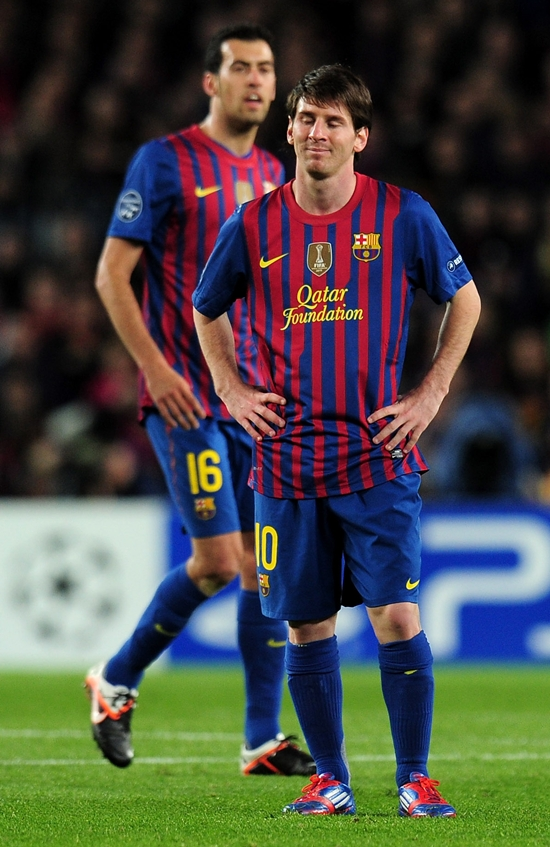 Lionel Messi after missing a penalty against Chelsea in the second leg of the Champions League semi-final