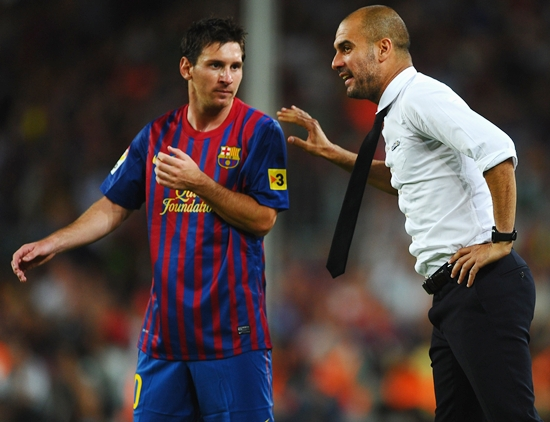 Messia and Barca coach Pep Guardiola