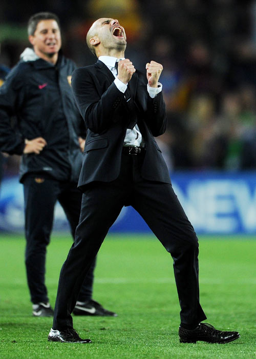 Head coach Josep Guardiola of Barcelona celebrates
