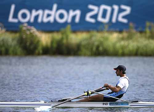 India's Sawarn Singh strokes during a men's rowing single sculls repechage