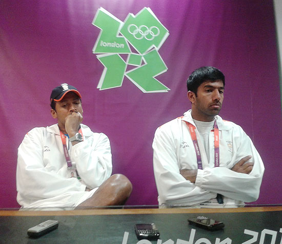 Mahesh Bhupathi and Rohan Bopanna after their loss at the London Olympics on Tuesday