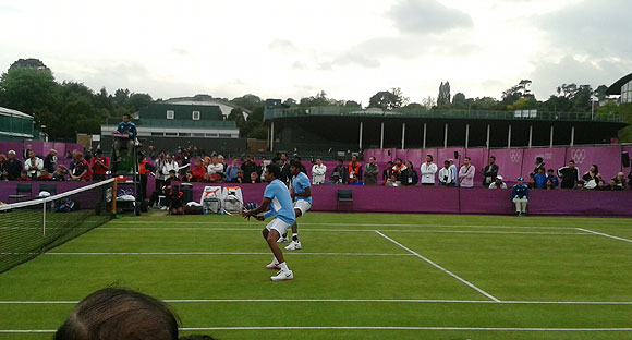 Mahesh Bhupathi and Rohan Bopanna in action during their second rounnd match against Frenchmen Julien Benneteau and Richard Gasquet on Tuesday