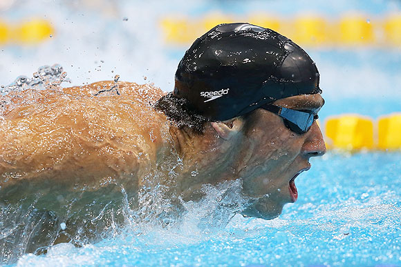 Michael Phelps of the United States competes in the Men's 200m Butterfly final on Tuesday