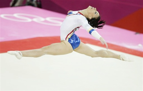 Romania's gymnast Catalina Ponor performs on the floor