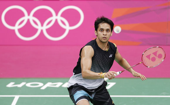 India's Kashyap Parupalli plays against Malaysia's Chong Wei Lee during their mens singles badminton quarterfinals match