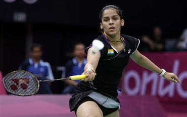 Saina Nehwal in action against Tine Baun