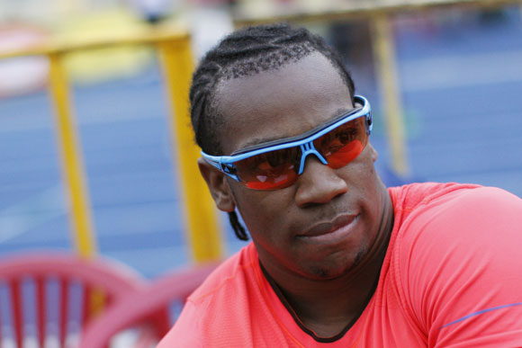 Jamaican sprinter Yohan Blake prepares to compete in the men's 400m at the Camperdown Classic at National Stadium in Kingston