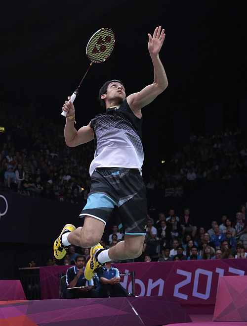 India's Kashyap Parupalli plays against Sri Lanka's Niluka Karunaratne at a men's singles badminton match