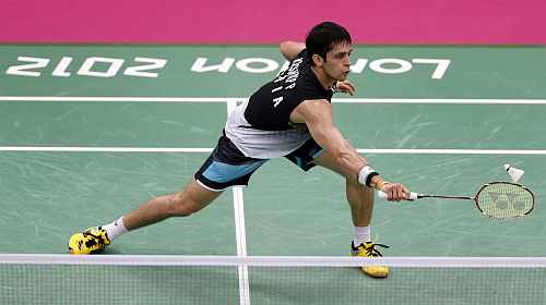 India's Kashyap Parupalli plays against Sri Lanka's Niluka Karunaratne during their men's singles round of 16 badminton match