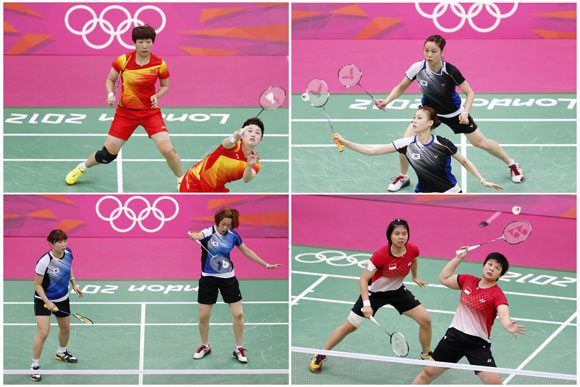 Combination photo made August 1, 2012 shows the women's doubles pair of (clockwise from top left) China's Wang Xiaoli (L) and Yang Yu, South Korea's Jung Kyung Eun (Top) and Kim Ha Na, Indonesia's Greysia Polii and Meiliana Jauhari and South Korea's Ha Jung-eun (L) and Kim Min-jung during their matches during the London 2012 Olympics