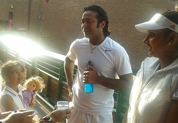 Leander Paes and Sania Mirza speak to the media after their first round win