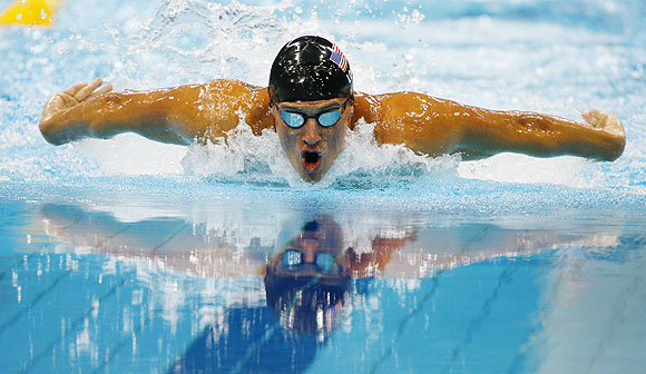 Ryan Lochte of the US swims to a second place finish in the men's 200m individual medley final on Thursday