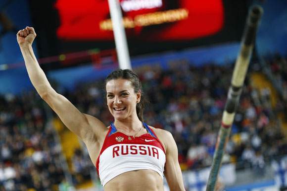 Yelena Isinbayeva of Russia reacts during the women's pole vault final during the world indoor athletics championships at the Atakoy Athletics Arena in Istanbul