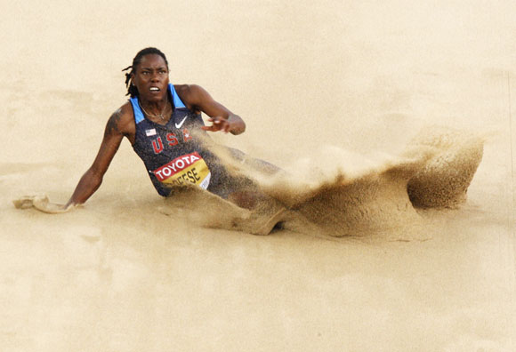 Brittney Reese of the U.S. competes in the women's long jump final at the IAAF World Championships in Daegu