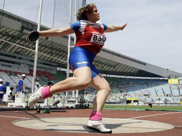 Darya Pishchalnikova of Russia competes in the women's discus throw heats at the 11th IAAF World Athletics Championship in Osaka