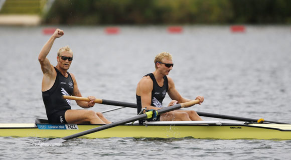 New Zealand's Eric Murray and Hamish Bond celebrate winning their men's pair semifinals at Eton Dorney