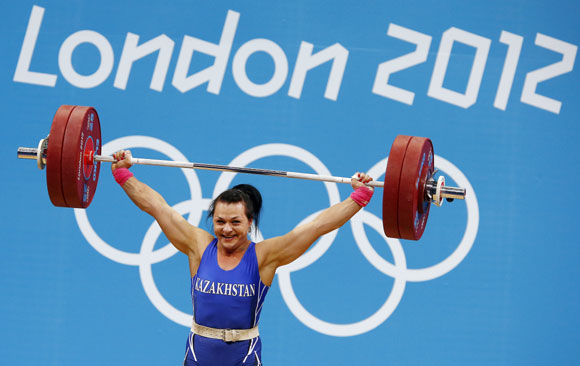 Kazakhstan's Svetlana Podobedova lifts on the women's 75Kg group A weightlifting competition