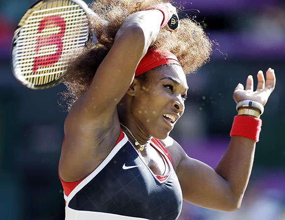 Serena Williams of the United States returns to Victoria Azarenka