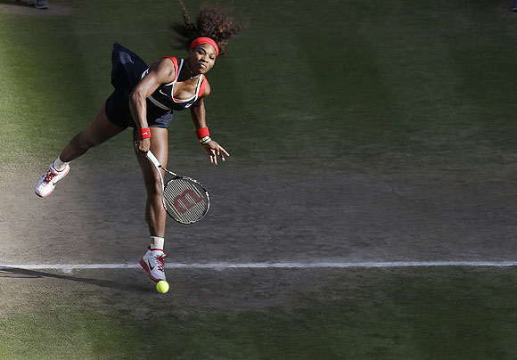 Serena Williams of the United States serves to Victoria Azarenka