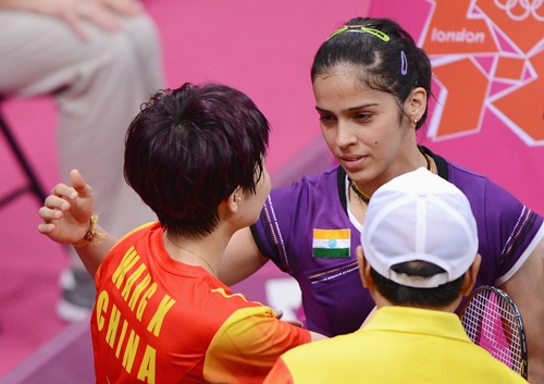 Saina Nehwal with Xin Wang