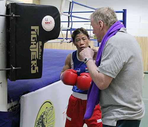 The mother-of-two, who is also a multiple-time Asian champion,  will face Poland's Karolina Michalczuk -- a former bantamweight (54kg) world champion -- in her pre-quarterfinal  bout on Sunday at 183