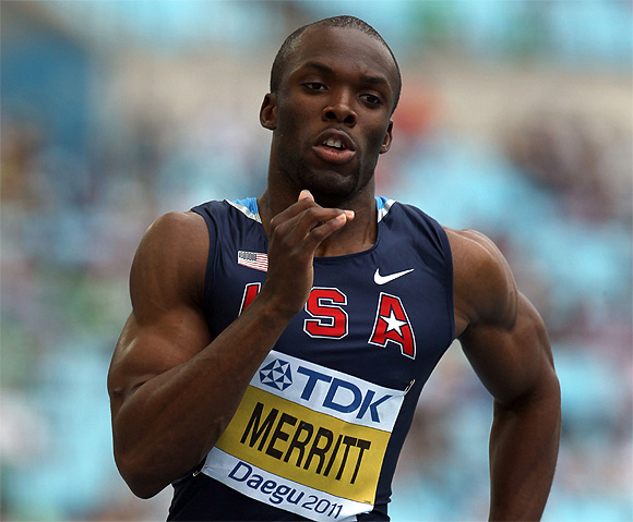 LaShawn Merritt of United States competes in the men's 400 metres heats during day two of the 13th IAAF World Athletics Championships at the Daegu Stadium