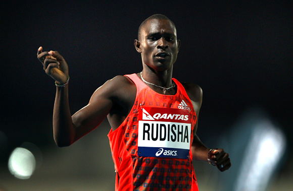David Rudisha of Kenya celebrates winning the Mens 800 Metre Open during day two of the Melbourne Track Classic