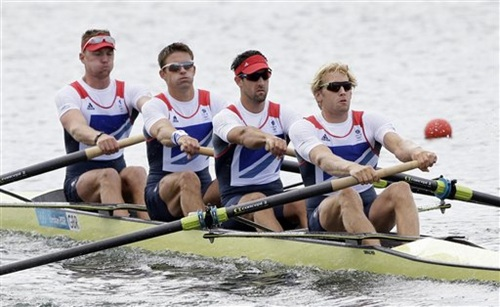 Andrew Triggs Hodge, Tom James, Pete Reed and Alex Gregory row on their way to winning the gold medal