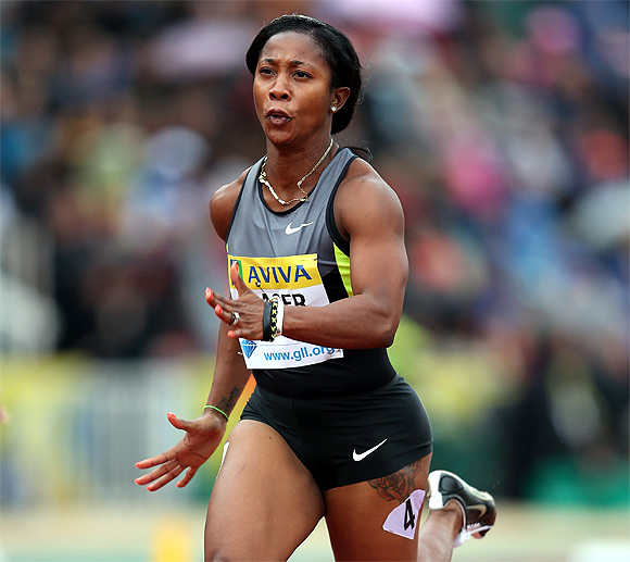 Shelly-Ann Fraser-Pryce of Jamaca in action in the 100m during day two of the Aviva London Grand Prix at Crystal Palace