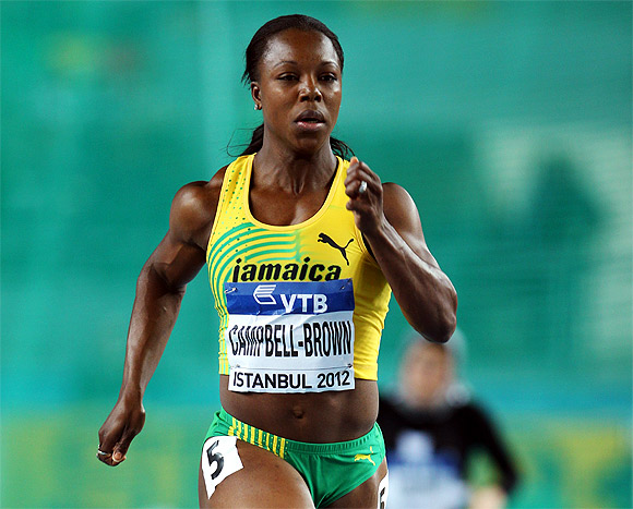 Veronica Campbell-Brown of Jamaica competes in the Women's 60 Metres first round during day two of the 14th IAAF World Indoor Championships at the Atakoy Athletics Arena