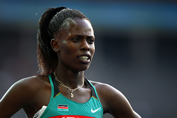 Pamela Jelimo of Kenya competes in the women's 800 Metres Semi-Final during day three of the 12th IAAF World Athletics Championships at the Olympic Stadium in Berlin