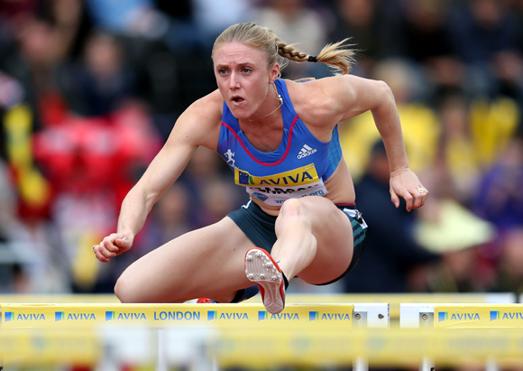 Sally Pearson of Australia in action in the 100m hurdles during day two of the Aviva London Grand Prix at Crystal Palace
