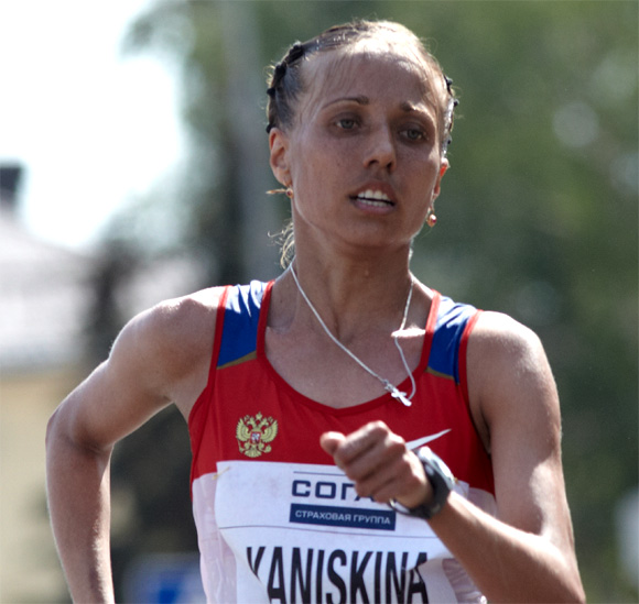 Olga Kaniskinaof Russia in action during the competition of women's 20 km IAAF World Race Walking Cup 2012