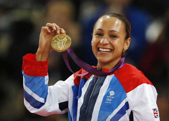 Britain's Jessica Ennis holds her gold medal during the women's heptathlon victory ceremony
