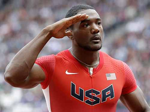 United States' Justin Gatlin reacts after his heat in the men's 100-meters