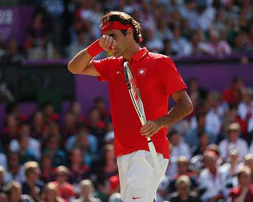 Roger Federer of Switzerland reacts against Andy Murray of Great Britain during the Men's Singles Tennis Gold Medal Match