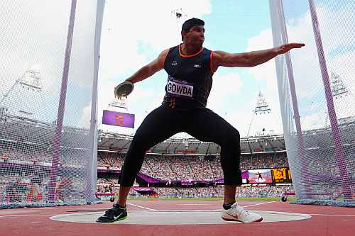 Vikas Gowda of India competes in the Men's Discus Throw qualification