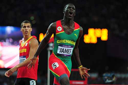 Kirani James of Grenada reacts after winning the gold medal in the Men's 400m final