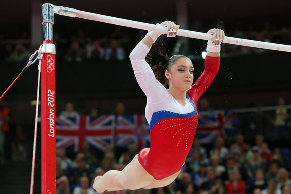 Aliya Mustafina of Russia competes in the Artistic Gymnastics Women's Uneven Bars final on Day 10