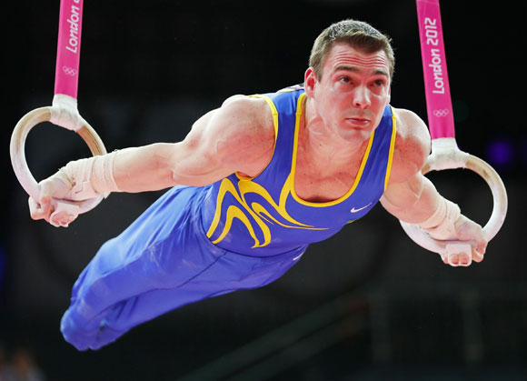 Brazil's Arthur Nabarrete Zanetti competes in the men's gymnastics rings final in the North Greenwich Arena