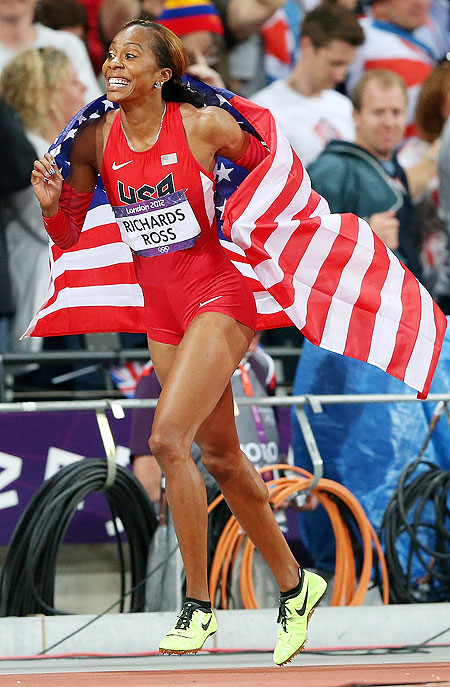 Sanya Richards-Ross of the United States celebrates after gold medal-winning performance in the Women's 400m final on Sunday